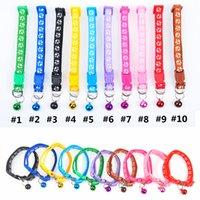 Colar de gatos colar de gato colorido suprimentos pata cópia colaras ajustáveis com pegada de sino bonito pet acessórios yfa3122