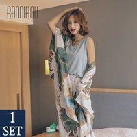 Bannirou kadının baskılı pijama setleri pijama seti 100% viskon pijama kadın gece takım elbise pijama setleri yeni 4 parça M-XL 210320