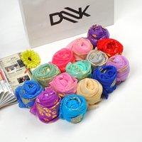 Versão coreana Beleza Silk Lenço Longo Lenço Dourado Pavão Design Candy Color Shawl