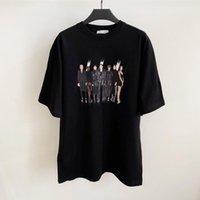 Nueva venta 20ss hombres mujeres verano camiseta banda modelo foto impresión camiseta de alta gama casual vacaciones cortas de mangas cortas de la calle de la calle de la calle