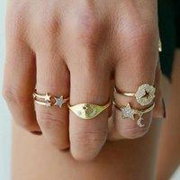 Eheringe minimalistische zirkon cz moon stern offen für frauen paare charme gold doppelschicht einstellbar fingerring retro schmuck
