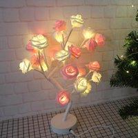 Décoration de fête Rose Table Lampe Small Tree Saint Valentin Couleur de la chambre de la Saint-Valentin Romantique Night Light Couleur Chaud