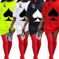 Плюс размер одежды для женщин летние платья с коротким рукавом Crewneck покер шаблон пуловерки футболки платье оптом Dropshipping X0521