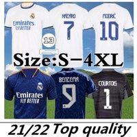Jersey de football de Madrid Real Benzema Away Camiseta Hombre Primera Equipación Blanca 2021 22 Hazard Asensio Casemiro Sergio Ramos Tableau de football Taille S-4XL