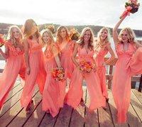 New Arrival Chic Chiffon Cheap Coral Bridesmaid Dresses Long Jumpsuits V Neck Plus Size Beach Wedding Guest Dress Party prom Dresses M133