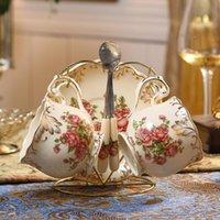 European Luxury Ceramic Coffe Cup Set Gold Reutilisable Cups Porcelain High Quality Tazzine Caffe Teacup And Saucer KK60BD & Saucers