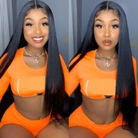 Lace Wigs 180 Density Straight Human Hair Preplucked Bleached Knots 30 Inch 13x4 HD Transparent Frontal Wig Clours