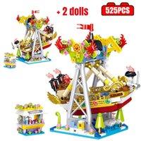 City Mini Amusement Park Building Blocks Pirate ship Car Carousel Roller Coaster Model Figures Bricks Toys for Girls Gift Y0916