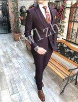 Classic One Button Wedding Tuxedos Peak Lapel Slim Fit Suits For Men Groomsmen Suit Prom Formal (Jacket+Pants+Vest+Tie) W805