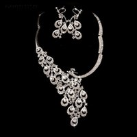 Earrings & Necklace Silver Color Austrian Crystal Bridal Wedding Jewelry Sets Luxury Peacock Accessories Bride Jewellery