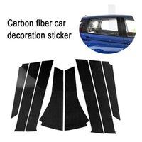 8 ADET Karbon Fiber Pencere B-Sütun Dekoratif Sticker Oto Takma Aksesuarları Araba Styling Honda Fit / Jazz 2014-2018 Araba için