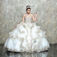 White Quinceanera Dresses 2021 Champagne Lace Appliqued Beaded Ruffles Sweet 16 Ball Gown Prom Dress Lace-up vestidos de 15 años
