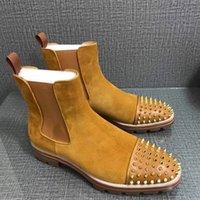 Moda Üst Erkekler Şövalye Çizmeler Kırmızı Alt Tasarım Erkek Ayak Bileği Boot Düşük Topuklu Orijinal Deri Perçinler ile Süet Kavun Çivili Çivili Spikes Düz Kısa