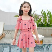 One-Pieces Children's Swimsuit Girls One-Piece Skirt Girl 3-15 Years Old Student Suit Short-Sleeved Striped Swimwear LB909