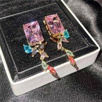 Dangle & Chandelier Big Square Pink Crystal Stone Earrings Geometric Irregular Multicolor Zircon Drop For Women Dainty Gold