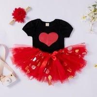 Clothing Sets Valentines Days Born Baby Boys Girls Clothes 3pcs Heart Print Short Sleeve Romper Sequined Lace Tutu Skirts Headband