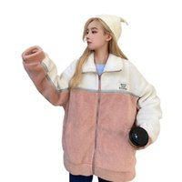 Women's Wool & Blends Autumn And Winter 2021 Plush Patchwork Zipper Coat Loose Stand Collar Long Oversize Causal Fashion Female Warm Jacket