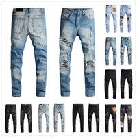 Fashion Mens Jeans Designer Long Straight Hip Hop Skinny Pants Hole Casual Motorcycle Biker Stretch Denim Trouser Classic