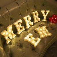 Alfabe Mektubu LED Işıkları Yaratıcı Marquee Burcu Numarası Lamba Dekorasyon Gece Işık Düğün Doğum Günü Noel Partisi Dekor için Yenilik Öğeleri