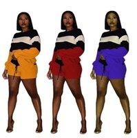 Color Patchwork suéter mujeres Trajes de 2 piezas Traje de manga larga Sudadera suelta Sudadera Top + Pantalones cortos Casual Tarjetas Calientes Streetwear Traje de mujer