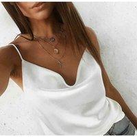 Moda-Yaz Gömlek Casual kadın Bluz Kadınlar V Boyun Katı Saten Kolsuz Backless Seksi Camiş Gömlek Feminino Tops