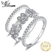 Cluster Rings JewelryPalace Flowers Cubic Zirconia CZ Stacking Ring 3 Tips Eternity Engagement Wedding Band 925 Sterling Silver