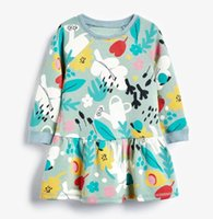 Dress kids baby girls autumn spring long sleeve Graffiti dresses toddler knee-length European and American Style clothes