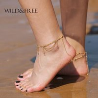 Anklets Delicate Tassel Foot Chain Anklet Jewelry Gold Alloy Ankle Bracelet Beads Barefoot Sandals Beach For Women