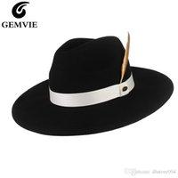 Gemvie 새로운 뻣뻣한 와이드 브림 100 % 양모 페도라 여성을위한 모자를 느꼈다 남자 스트라이프 깃털 밴드 가을 겨울 파나마 재즈 모자