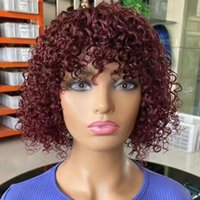 Brazilian Remy Jerry Curly Human Hair Wigs with Bangs 150% Full Machine Made Short Wig 99J Natural Color For Women