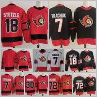 Achteruit Retro Ottawa Senatoren 7 Brady Tkachuk Jersey 18 Tim Stutzle Stuetzle Thomas Chabot Matt Murray Connor Brown Hockey rood zwart wit