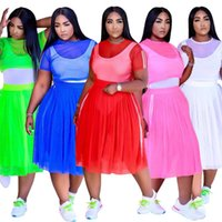 Plus Size Tracksuits Sexy Outfits Fashion See Through Short Sleeve Top Mesh Midi Skirt Women Two Piece Suit 4xl 5xl Wholesale Drop
