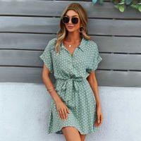 Beach Summer Shirt Dress Polka Dot Vintage High Waist Mini Casual Women Dresses Loose Short Sleeve Single-Breasted Slim Robe 210918