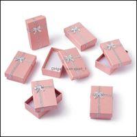 포장 24pcs 골 판지 주얼리 선물 상자 보석 포장 상자 bowknot 및 스폰지 80x50x25mm 방울 배달 202