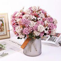 Flores decorativas Grinaldas 15 flor cabeça de seda hydrangea buquê artificial para presentes de dia dos namorados DIY decoração festa de casamento em casa Fak