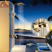 Quyanre Luxo Golden Chuveiro Torneiras Kit Solid Brawn Head Swivel Tub Bico de 3 Vias Misturador de Nível Misturador Torneira Conjuntos de Banheiro