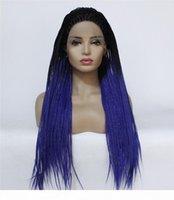 Preços por atacado Preços Sintéticos Resistente ao Calor Torção Trança Perucas OmTre Color Lace Box Braid Wigs