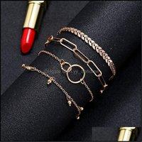 Charm Jewelrycharm Bracelets Bracelet Jewelry Fashion Simple Big Circle Hollow 4-Piece Couple Charms Set For Women Drop Delivery 2021 Xgrck
