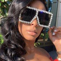 2021 Oversized Square Colorful Diamond Sunglasses Women Big Frame Luxury Crystal Sun Glasses for Female Rhinestone Eyewear Uv400