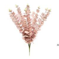 Eucalyptus Eave artificielle Fleur artificielle Bureau de l'usine Mariage Plantes de mariage Décor de jardin Faux Fleurs Arrangement Accessoires HWWE9119