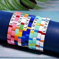Charm Bracelets MOON GIRL 10 Pieces Stackable Letter Enamel Sets Stretchy Bangles For Women Men Chic Pulseras Femme Drop