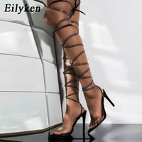 Eilyken Rihanna Style Thigh High Sandals Sexy Long Boots Fashion Pointed Toe Crystal Lace Up Stiletto Heels Womens Shoes 2021 J2023