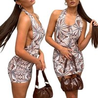 Casual Dresses Women Dress, Neck-Hanging Retro Printed Wrapped Slim Sleeveless Backless Off Shoulder Party Short Sexy Club Wear