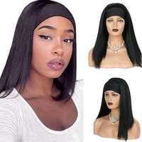 Synthetic Wigs LIHUI 24 INCH Headband Wig Short Hair Natural Black Head Band Long Straight For Women High Temperature Fiber