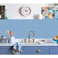 Art3D 30x30cm Peel and Stock Backsplash Fliesen 3D Wandaufkleber für Küche Badezimmer Schlafzimmer Waschküche, glänzendes hellblau, Tapeten (10 Blätter)