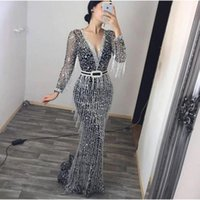 Casual Dresses African For Women 2021 Tassel Long Sleeve V-Neck Sling Sequin Dress Sequins Clothing Maxi Africa