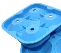 NUEVO 4 células diamantes hielo molde de bola de silicona cubo de silicona fabricante de bolas de bola de whisky Moldes de helado Forma Molde de chocolate con embudo para la barra de fiesta 214 v2