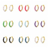 Hoop & Huggie Canner 925 Sterling Silver Earrings For Women Candy Color Enamel Ear Hoops Macaron Sweet Lovly Girly Luxury Pendientes