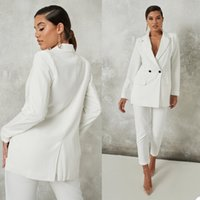 White Double Breasted Women Pants Suits Mother Celebrity Red Carpet Blazer Suit Ladies Prom Party Wedding Wear(Jacket+Pants)