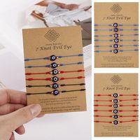 6pcs set Lovely Evil Eye Beads Bracelets For Women Handmade Knots Braided Rope Bracelet Adjustable Bangle Lucky Jewelry Gifts Charm